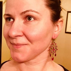 Monet Gold and red chandelier earrings